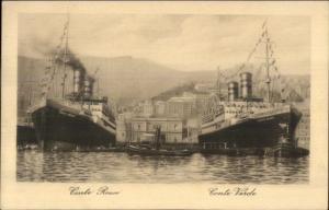 Lloyd Sabaudo Line Steamships Conte Rosso & Conte Verde & Tug c1915 Postcard