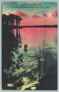 Kentucky State Line~Sunset Over Lake~Vintage Postcard