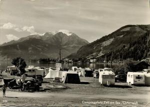 austria, ZELL AM SEE, Camping Caravan, Cars Volkswagen Beetle VW V.W. 1970s RPPC