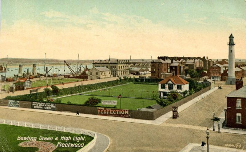 UK - England, Fleetwood. Bowling Green and High Light Lighthouse