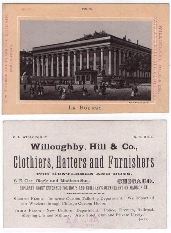 Willoughby, Hill & Co., Clothiers, Chicago, Illinois Trade Card...