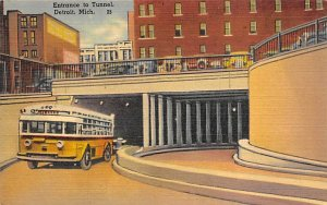 Entrance to tunnel Detroit, Michigan, USA Bus Unused