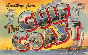 Gulf Coast Mississippi~Large Letter Linen Postcard~Sea Gulls~Sailboat~1943