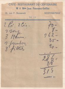 Hotel Metropole Metz 1940s Serviette Centenaire Restaurant Receipt