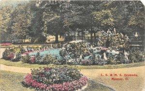 F53/ Mentor Ohio Postcard c1910 LS&MS Railroad Grounds Pond