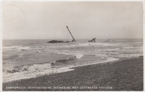 RP: Kamperduin. Hondsbossche Zeewering Met Gestrande Kruiser , 1939