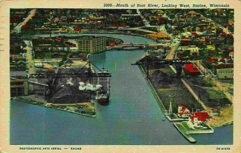Mouth of Root River Looking West Racine Wisconsin Bridge Postcard
