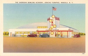 Mineola New York Sheridan Bowling Academy Jericho Turnpike Postcard JJ658878