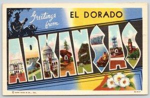 El Dorado Arkansas~Black Stereotype Guitar Player~State Large Letter Linen~1939