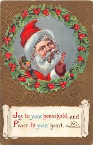 E11/ Santa Claus Merry Christmas Holiday Postcard c1910 Gold Candy Cane 1