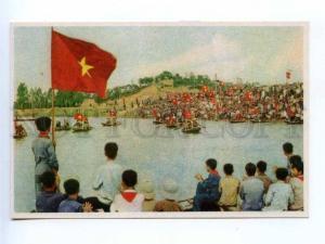 196683 Vietnam Hai Phong flag pioneers old postcard