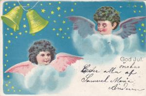 CHRISTMAS; God Jul, Two angel faces in the clouds, Ringing Bells, Starry Sky,...