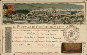 1905 Exposition Liege Belgium Thermometer & Barometer Used Postcard