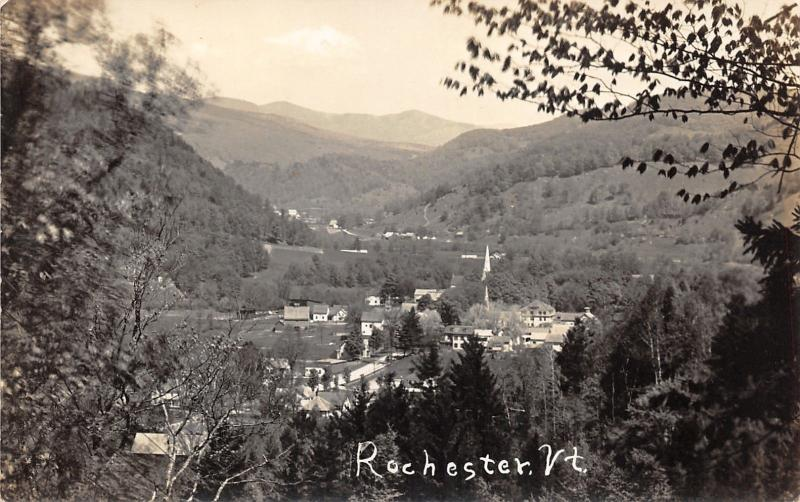 Rochester Vermont~Aerial View of Town Looking into Valley~1930s RPPC