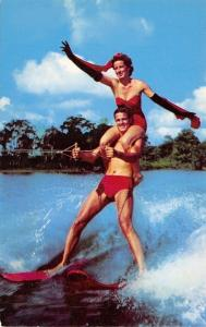 Cypress Gardens~Topside Tandem~Water Ski Champions~Red Suit Bathing Beauty~1954