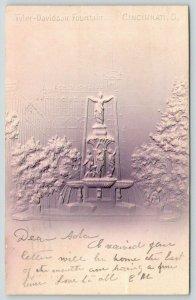 Cincinnati Ohio~Tyler Davidson Fountain~Mauve Tan Airbrushed~Embossed~1905 IPCC