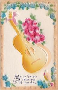 Many Happy Returns With Guitar and Pink Roses 1910