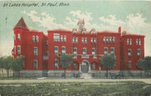 St Paul Minnesota~St Luke's Hospital~Red Brick~Horse Buggy in Front~1913 PC