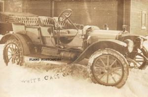 WHITE CASS (SP?) CAR WITH SNOW CHAINS-EARLY 1900'S RPPC REAL PHOTO POSTCARD