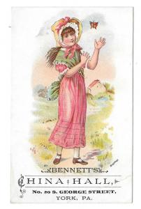 Victorian Trade Card York PA Bennetts China Hall Butterfly