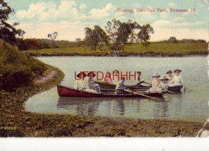 BOATING, GLEN OAK PARK, KEWANEE, IL. women and children in two rowboats