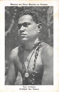 B84872 type d indigene man  types folklore   oceania samoa