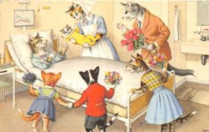 F60/ Alfred Mainzer Dressed Cats Postcard c1940s Kitten Delivery Hospital 22
