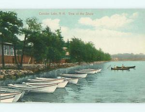 Divided-Back CANOE BOAT & BUILDINGS ON CANOBIE LAKE Salem New Hampshire NH t6303