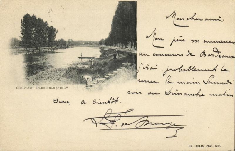france, COGNAC, Parc François Ier (1898) Stamp