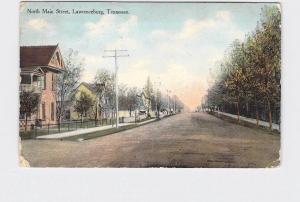 PPC POSTCARD TENNESSEE LAWRENCEBURG NORTH MAIN ST. RESIDENTIAL STREET VIEW 1912