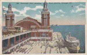 CHICAGO, Illinois, PU-1920; Municipal Pier, Showing Boat Landing