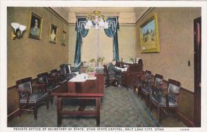 Utah Salt Lake City Private Office Of Secretary Of State Utah State Capitol C...