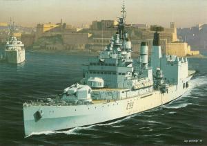 (b04) Command Helicopter Cruiser HMS Blake leaving Grand Harbour Malta Postcard