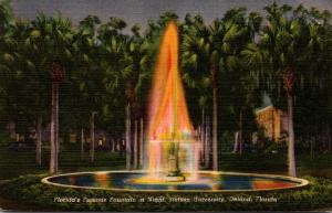Florida Deland Stetson University Fountain At Night Curteich