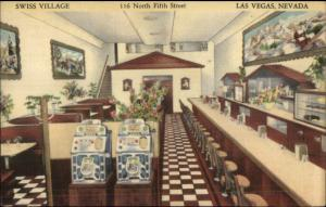 Las Vegas NV Swiss Village Old Slot Machines Lunch Counter Linen Postcard