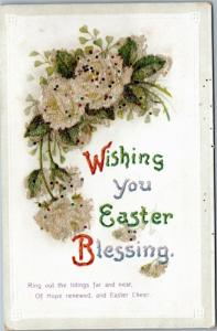Wishing you Easter Blessing - glitter flowers  - International Art Publishing Co