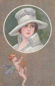E. COLOMBO ; Art Deco Female Portrait & Cupid , 1910s