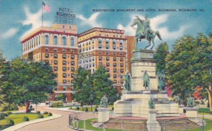 Virginia Richmond The Washington Monument and Hotel Richmond