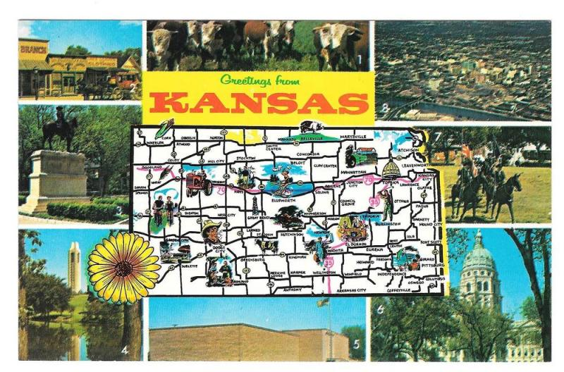 Greetings Kansas Map Multiview Landmarks Vintage Postcard