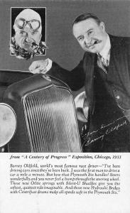 Chicago IL Century of Progress Barney Oldfield Race Driver Plymouth Handout