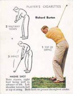 Player Vintage Cigarette Card Golf 1939 No 6 Mashie Shot Richard Burton