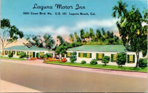 Laguna Beach California~Laguna Motor Inn (Gone Now) on US101~1940s Shinicolor~