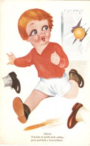 Cervello. Boy playing football. Goal  Curious Spanish Postcard 1920s