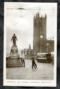 dc1809 - MANCHESTER 1912 Tram at Cromwell Monument Real Photo Postcard