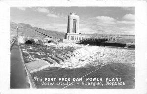 F50/ Glasgow Montana RPPC Postcard 1955 Fort Peck Dam