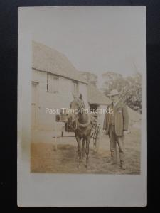 Portrait of GENTLEMAN WITH HORSE & TRAP Possible American Image Old RP Postcard
