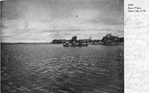 Clear Lake South Dakota~Stony Point~Men Fishing in Boat~1907 Postcard