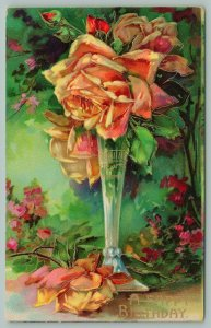 Bright Bold Yellow Roses~Crystal Clear Slender Vase~Gold Leaf Emboss~Serie 1460