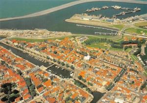 Netherlands Harlingen in Vogelvlucht Holland Air view Port Bateaux Harbour