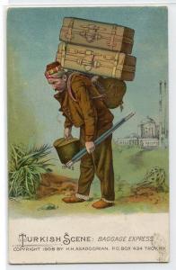 Turkish Baggage Express Turkey 1910c postcard